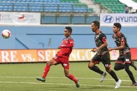 Hazzuwan shines in unfamiliar striker's role