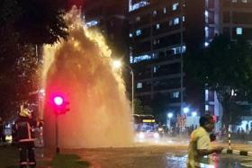 A pipe at Bukit Batok West Avenue 6 burst on Sept 26.