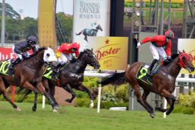 Jockey Olivier Placais standing up to celebrate after winning on Super Fortune in Race 6 at Kranji on Sunday.