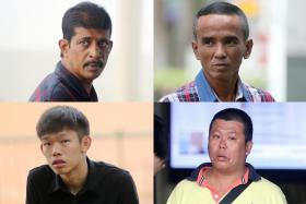 "(Clockwise from top left) Abdul Ghani Mustaffa, Adam Malik Bahtiar, Chay Wen Fu and Yu Teck Hoon are suspected to be members of gangs affiliated to the ""18"" group."