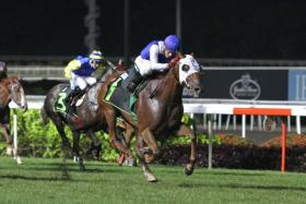 Jockey Oscar Chavez opening his winning account yesterday with Za'eem in Race 2, the Open Maiden race over 1,600m.
