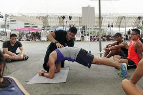 A calisthenics session at the Singapore Sports Hub.