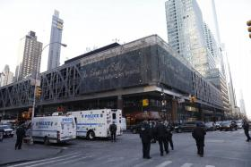 Police offcers outside the Port Authority Bus Terminal following reports of an explosion.