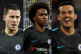 Eden Hazard (left), Willian (centre) and Pedro (right) formed a devastating attacking trio as Chelsea convincingly beat Huddersfield yesterday morning.