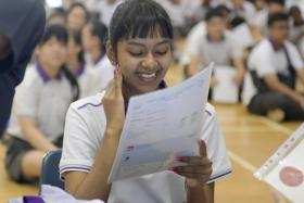 A Spectra Secondary student with her results.