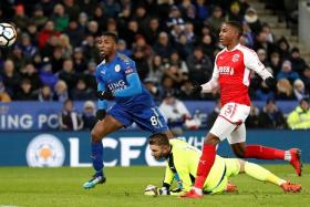 Leicester striker Kelechi Iheanacho scoring his second goal, which was awarded after the referee consulted the VAR (video assistant ref).