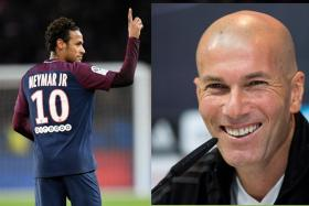 Real Madrid coach Zinedine Zidane (right) will face the Neymar-led Paris Saint-Germain in the Champions League Round of 16 next month.