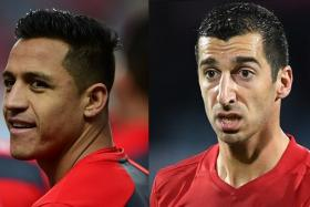 Alexis Sanchez (left) has joined Manchester United in time for an FA Cup tie against Yeovil Town on Saturday morning (Singapore time), while Henrikh Mkhitaryan (right) could make his debut for Arsenal at Swansea on Jan 31.