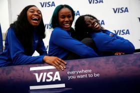 Nigerian women's bobsled team Ngozi Onwumere, Akuoma Omeoga and Seun Adigun during an event in Lagos, Nigeria, before the Pyeongchang Winter Olympics.