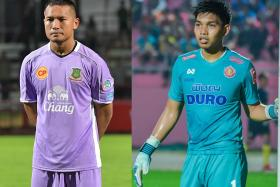 Singapore's top two goalkeepers Hassan Sunny (left) and Izwan Mahbud (right) are plying their trade in Thai League 2 this season.