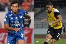 Zulfahmi Arifin (left) and Gabriel Quak (right) will meet in a Thai League 1 clash in Chonburi on Friday.
