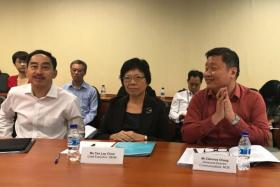 (L to R) Mr Wong Siew Hoong, director-general of Education at MOE, Ms Tan Lay Choo, chief executive of SEAB, and Mr Clarence Chang, divisional director of communications at MOE at the media briefing on Feb 23.