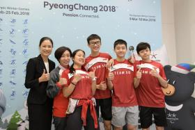 From left, Singapore Ice Skating Association president Sonja Chong, national coach Chun Lee Kyung, Winter Olympian Cheyenne Goh and young winter sportsmen Zen Koh, Trevor Tan and Piius Sng.
