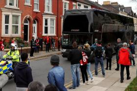 The Manchester United team bus outside Anfield before their last clash in October, when it finished 0-0.