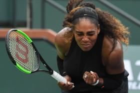 Serena Williams (above) celebrating a point against Kiki Bertens in the second round at Indian Wells,