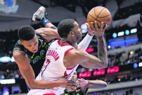 Dallas Mavericks guard Dennis Smith Jr fouling Houston Rockets guard Joe Johnson in the Rockets' 105-82 win.