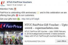 NTUC FairPrice files report over fake Facebook page offering vouchers