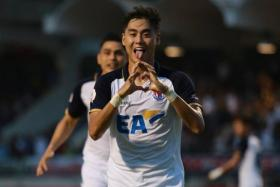 Gabriel Quak celebrates after scoring in Thai Navy FC's 3-2 win over Sukhothai FC on March 28.
