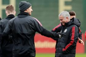 Manchester United manager Jose Mourinho (right) sharing a light moment with Zlatan Ibrahimovic last year.