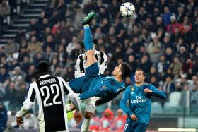 Cristiano Ronaldo scoring Real Madrid's second goal with a bicycle kick.