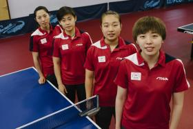 (From left to right) Yu Mengyu, Lin Ye, Zhang Wanling, Zhou Yihan and Feng Tianwei (not in picture) will take on Malaysia in their first match of the team event at the Commonwealth Games tomorrow.