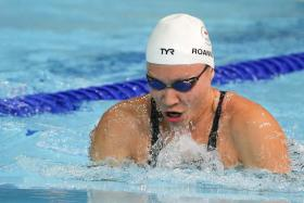 Singapore swimmer Roanne Ho on her way to clocking 31.32sec in the women's 50m breaststroke final at the Commonwealth Games on Friday.