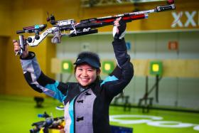 Martina Veloso won the gold medal in the women's 50m rifle prone event on Thursday, adding to the 10m air rifle title she won on Monday (above).