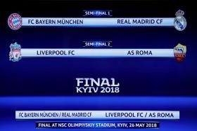 The draw for the Champions League semi-finals.