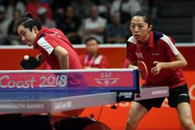 Singapore's table tennis pair of Feng Tianwei (left) and Yu Mengyu have won the women's doubles gold at the Gold Coast Commonwealth Games.