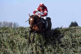 Jockey Davy Russell jumps the last fence on Tiger Roll on his way to winning the Grand National at Aintree Racecourse in Liverpool, England, on Saturday.