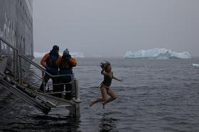 Singaporean takes the plunge in freezing Antarctic