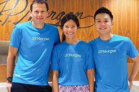 (From left) For JP Morgan's Steven Billiet, Claudia Phuah and Alvin Leow, joining the weekly running sessions initiated by Billiet has not only benefited their health but also brought the colleagues together.