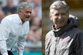 Jose Mourinho (left) says his previous antics on Arsene Wenger (right) should be seen in the context of trying to challenge Arsenal's leading position.