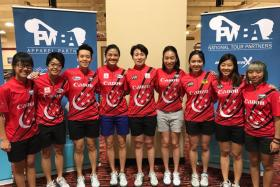 Singapore's bowlers at the PWBA stops - Las Vegas Open & Sonoma Open -  (from left) Joey Yeo, Cherie Tan, Shayna Ng, Daphne Tan, New Hui Fen, Geraldine Ng, Jazreel Tan, Bernice Lim and Tracy See.