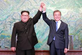 The role played by South Korean President Moon Jae In (right) in being a peace-broker with the North's leader Kim Jong Un has been hailed as being worthy of a Nobel Prize.