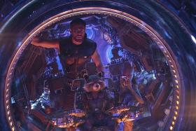 Chris Hemsworth as Thor (above, with Guardians of the Galaxy characters) in Avengers: Infinity War.