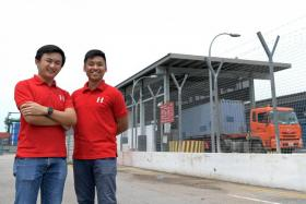 Maritime and logistics start-up Haulio co-founders Alvin Ea (right) and Sebastian Shen.