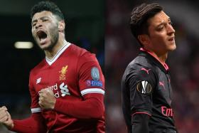 The fortunes of Liverpool's Alex Oxlade-Chamberlain (left) and Arsenal's Mesut Oezil (right) have been in stark contrast since the former left the Gunners.