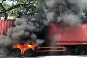 Trailer bursts into flames on PIE, no injuries