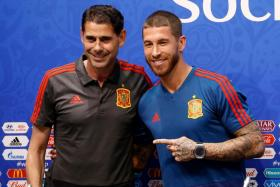 Spain coach Fernando Hierro and captain Sergio Ramos at their pre-match press conference.