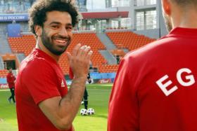 Mohamed Salah joining the Egypt team in training on Thursday.