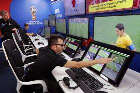An interior view shows a video operation room (VOR), a facility of the Video Assistant Referee (VAR) system during a demonstration on June 8. The VAR is making its debut at the World Cup.