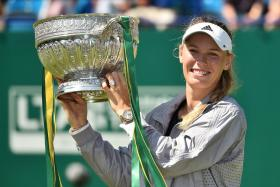 Caroline Wozniacki with the Eastbourne trophy, her second title this year, following the Australian Open triumph in January.