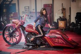 Customised Harley makes a flashy entrance
