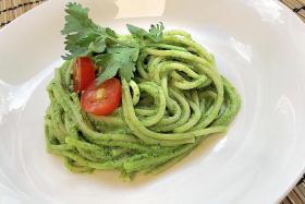 Brown rice pasta with coriander chilli macadamia pesto