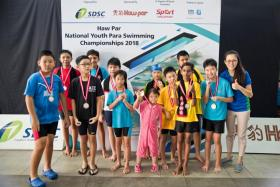 Participants of the Haw Par Youth Para Swimming Championships.