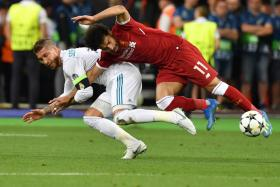 Sergio Ramos ended Mohamed Salah's involvement in the Champions League final in May with this challenge which caused Salah to suffer a shoulder injury.