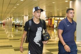Angel di Maria arriving at the Changi Airport on Sunday morning (Singapore time).