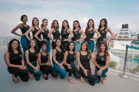 Miss Universe Singapore 2018 top 15 finalists (Top row, from left) Mohanaprabha, Loo May Tia, Tiong Jia En, Nicol Hunt, Soh Qiao Ying, Ischelle Koo, Jaslyn Tan, Sharin Keong (Bottom row, from left) Hilary Rupawalla, Sushil Como, Ameerah Smith, Renee Kee, Chloe Padirac, Tyen Rasif, Zahra Khanum