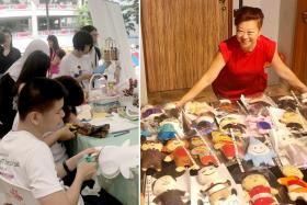 (Right) Ms Joanne Leow with the plushies that will go on display in Marine Parade. (Left) One of the sessions where volunteers worked with autistic children to create the plushies.